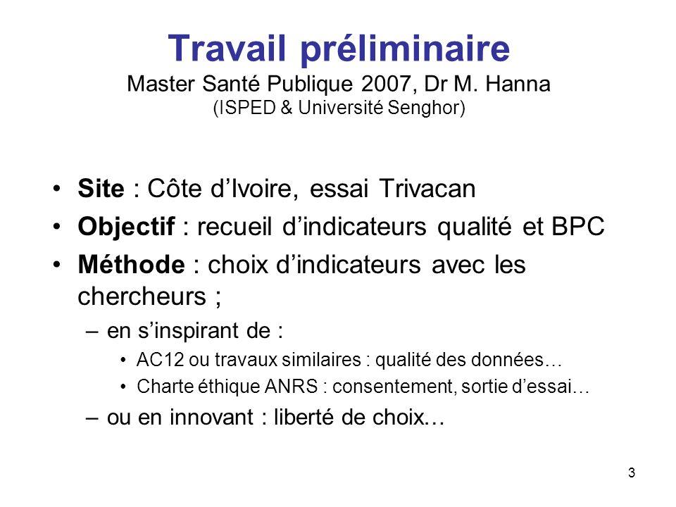 3 Travail préliminaire Master Santé Publique 2007, Dr M. Hanna (ISPED & Université Senghor) Site : Côte dIvoire, essai Trivacan Objectif : recueil din
