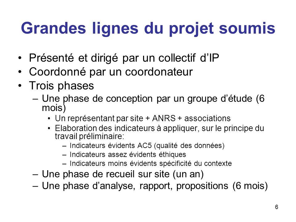 6 Grandes lignes du projet soumis Présenté et dirigé par un collectif dIP Coordonné par un coordonateur Trois phases –Une phase de conception par un g