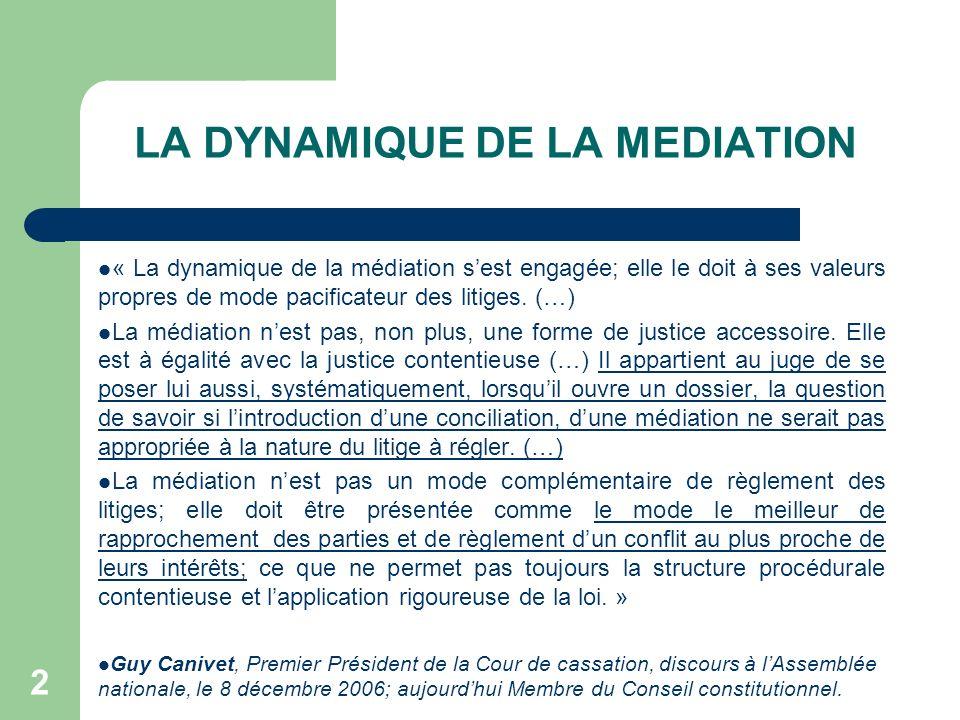 LA DYNAMIQUE DE LA MEDIATION « La dynamique de la médiation sest engagée; elle le doit à ses valeurs propres de mode pacificateur des litiges.