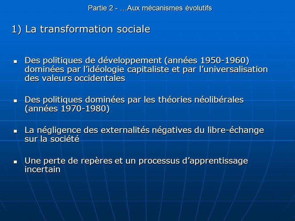 Partie 2 - …Aux mécanismes évolutifs 1) La transformation sociale Des politiques de développement (années 1950-1960) dominées par lidéologie capitalis