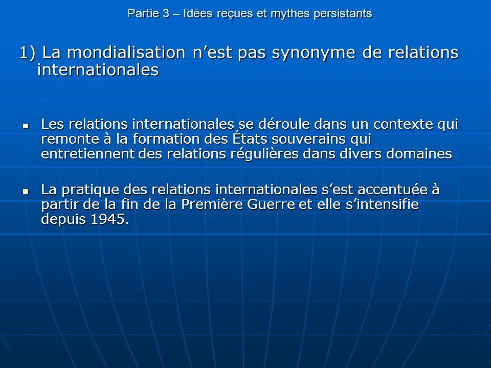 Partie 3 – Idées reçues et mythes persistants 1) La mondialisation nest pas synonyme de relations internationales Les relations internationales se dér
