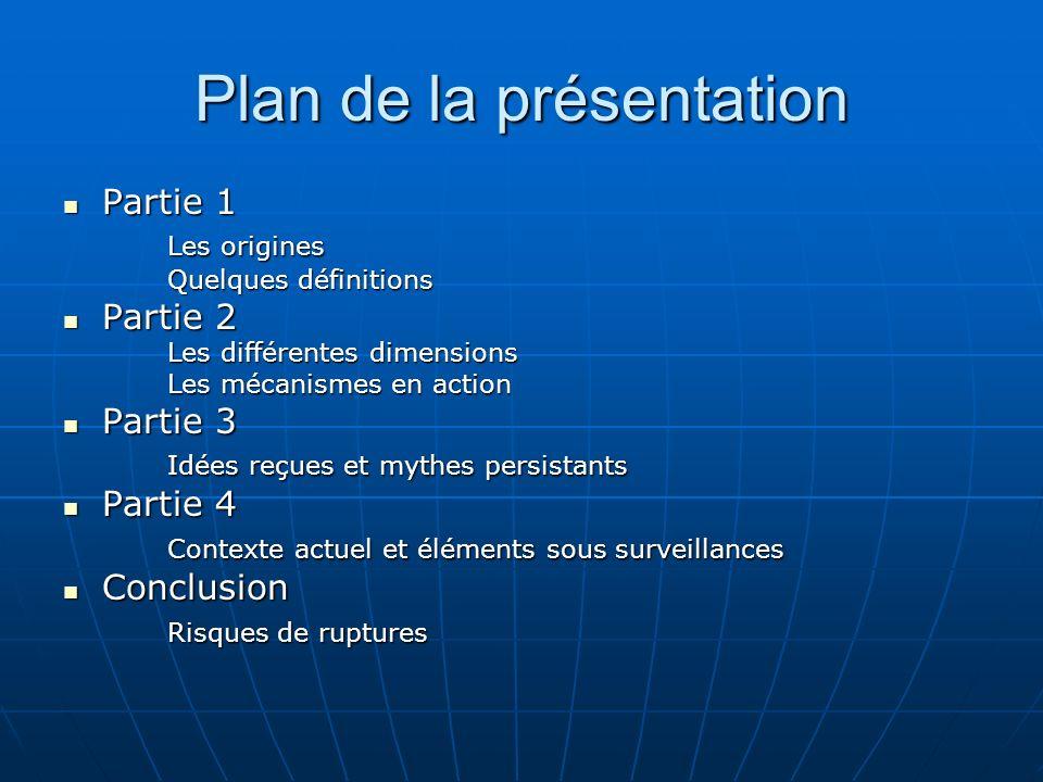 Plan de la présentation Partie 1 Partie 1 Les origines Quelques définitions Partie 2 Partie 2 Les différentes dimensions Les mécanismes en action Part