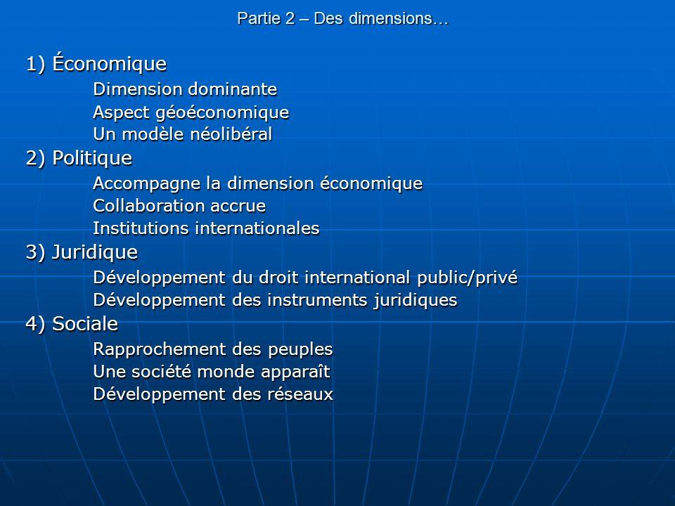 Partie 2 – Des dimensions… 1) Économique Dimension dominante Aspect géoéconomique Un modèle néolibéral 2) Politique Accompagne la dimension économique