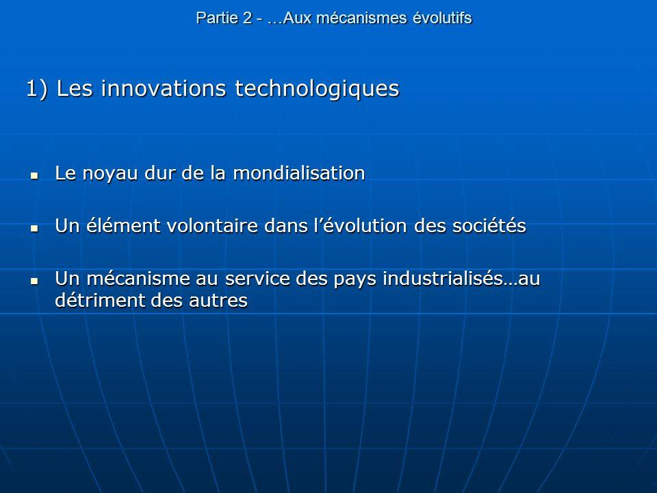 Partie 2 - …Aux mécanismes évolutifs 1) Les innovations technologiques Le noyau dur de la mondialisation Le noyau dur de la mondialisation Un élément