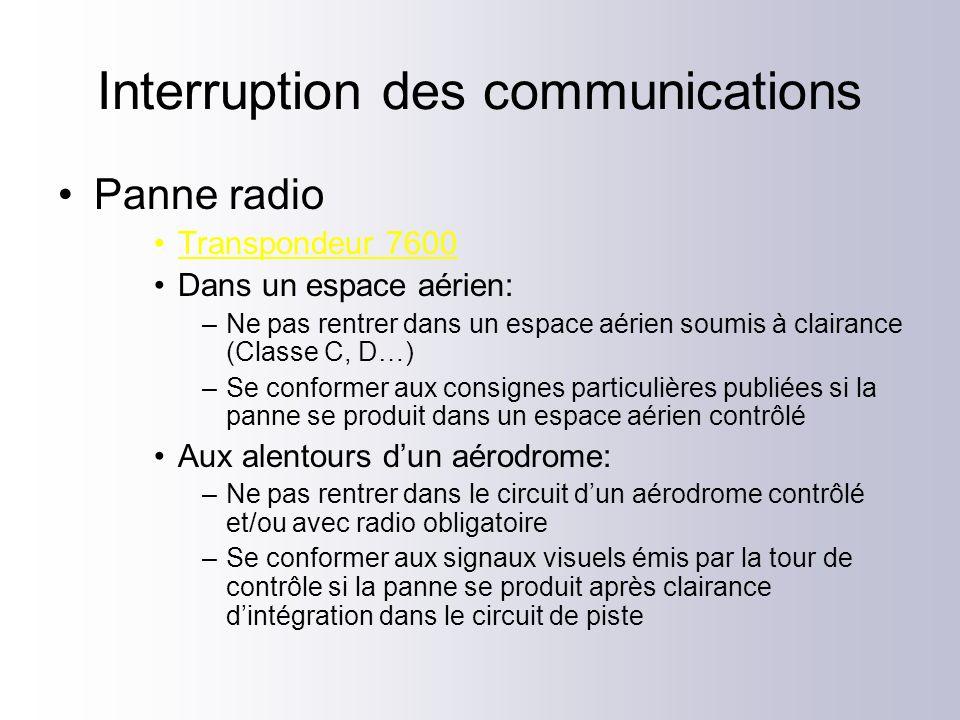 Interruption des communications Panne radio Transpondeur 7600 Dans un espace aérien: –Ne pas rentrer dans un espace aérien soumis à clairance (Classe C, D…) –Se conformer aux consignes particulières publiées si la panne se produit dans un espace aérien contrôlé Aux alentours dun aérodrome: –Ne pas rentrer dans le circuit dun aérodrome contrôlé et/ou avec radio obligatoire –Se conformer aux signaux visuels émis par la tour de contrôle si la panne se produit après clairance dintégration dans le circuit de piste