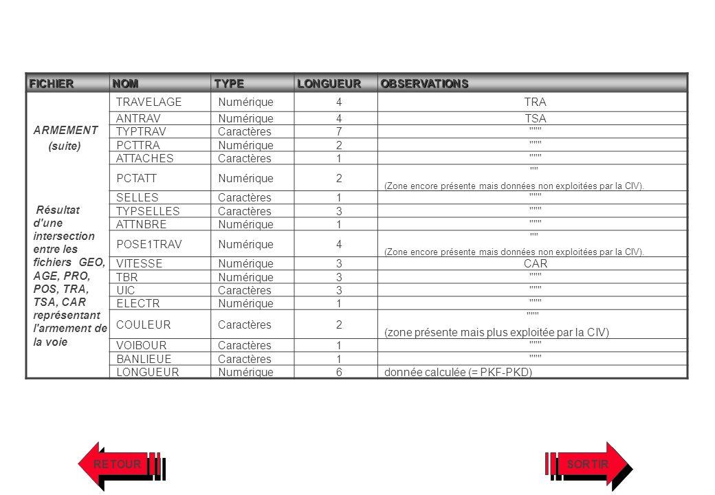 FICHIERNOMTYPELONGUEUROBSERVATIONS ARMEMENT (suite) Résultat d'une intersection entre les fichiers GEO, AGE, PRO, POS, TRA, TSA, CAR représentant l'ar
