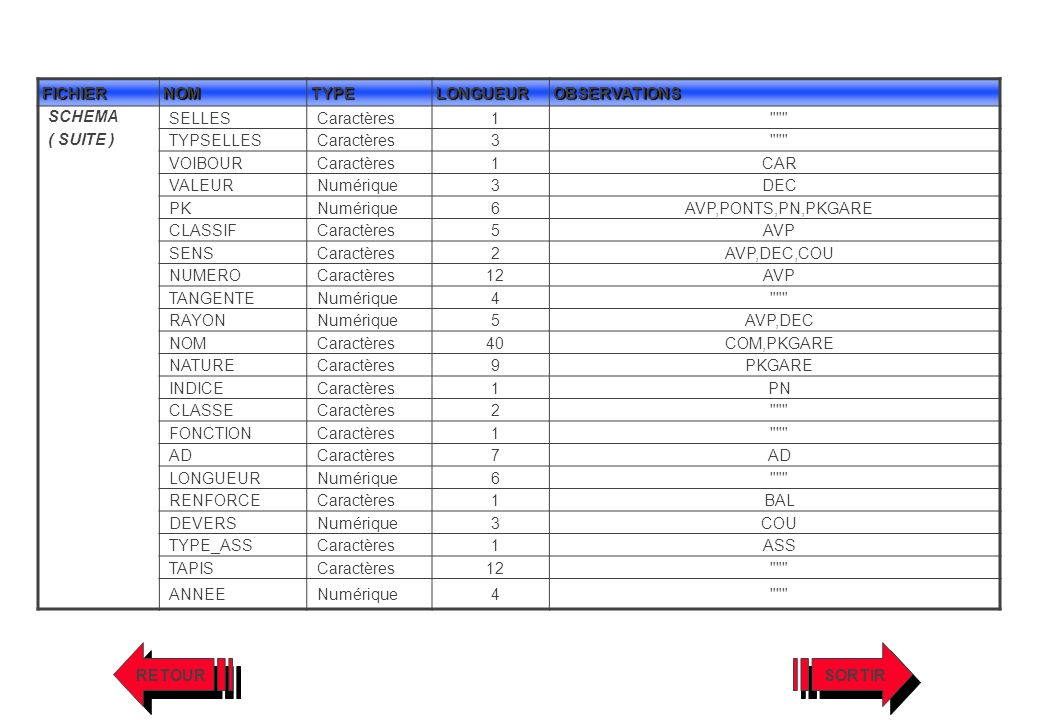 FICHIERNOMTYPELONGUEUROBSERVATIONS SCHEMA ( SUITE ) SELLESCaractères1