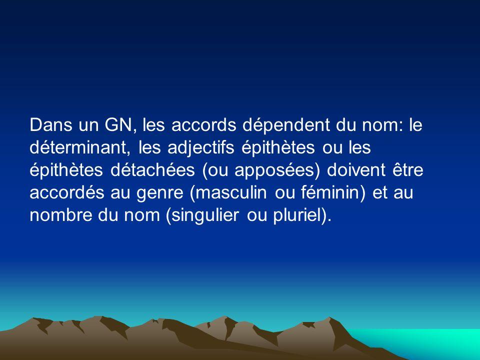 Dans un GN, les accords dépendent du nom: le déterminant, les adjectifs épithètes ou les épithètes détachées (ou apposées) doivent être accordés au ge