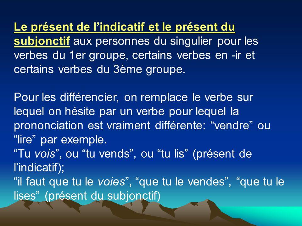 Le présent de lindicatif et le présent du subjonctif aux personnes du singulier pour les verbes du 1er groupe, certains verbes en -ir et certains verb
