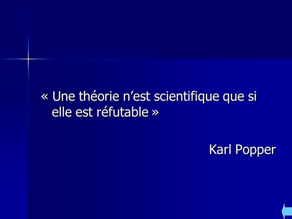 « Une théorie nest scientifique que si elle est réfutable » Karl Popper