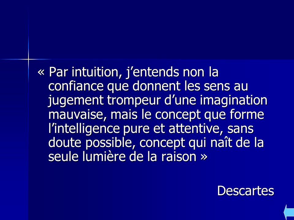 « Par intuition, jentends non la confiance que donnent les sens au jugement trompeur dune imagination mauvaise, mais le concept que forme lintelligenc