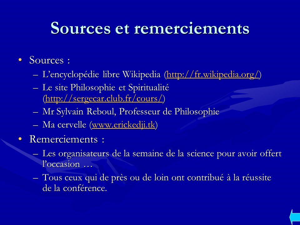 Sources et remerciements Sources :Sources : –Lencyclopédie libre Wikipedia (http://fr.wikipedia.org/) http://fr.wikipedia.org/ –Le site Philosophie et