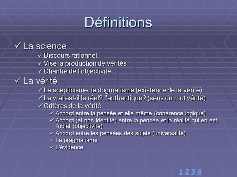 Définitions La science La science Discours rationnel Discours rationnel Vise la production de vérités Vise la production de vérités Chantre de lobject