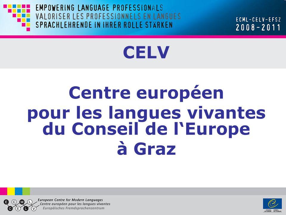 Objectifs du programme www.ecml.at/empowerment www.ecml.at/empowerment 1.Améliorer les compétences professionnelles des enseignants en langues 2.Renforcer les réseaux professionnels et lensemble de la communauté des enseignants de langues 3.Permettre aux professionnels en langues d exercer un impact plus fort sur les processus de réforme 4.Contribuer à une éducation aux langues de meilleure qualité en Europe