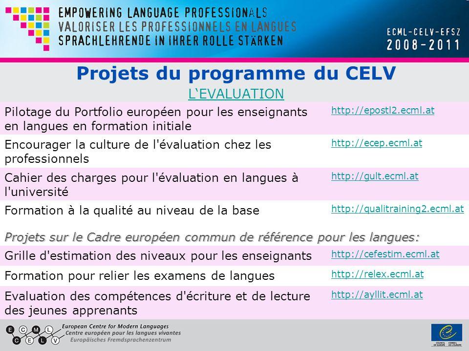 Projets du programme du CELV LEVALUATION LEVALUATION Pilotage du Portfolio européen pour les enseignants en langues en formation initiale http://epost