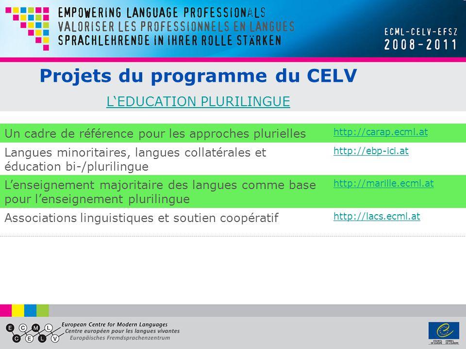 Projets du programme du CELV LEDUCATION PLURILINGUE LEDUCATION PLURILINGUE Un cadre de référence pour les approches plurielles http://carap.ecml.at La