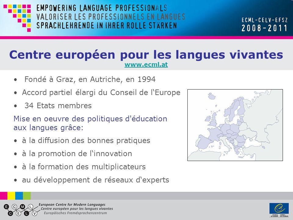 Centre européen pour les langues vivantes www.ecml.at Fondé à Graz, en Autriche, en 1994 Accord partiel élargi du Conseil de lEurope 34 Etats membres
