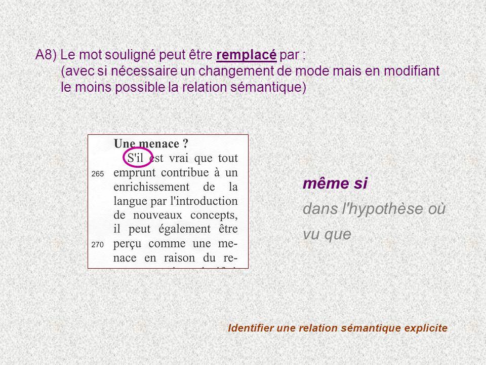 Identifier une relation sémantique explicite A8) Le mot souligné peut être remplacé par : (avec si nécessaire un changement de mode mais en modifiant