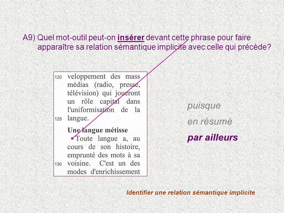 Identifier une relation sémantique implicite A9) Quel mot-outil peut-on insérer devant cette phrase pour faire apparaître sa relation sémantique implicite avec celle qui précède.