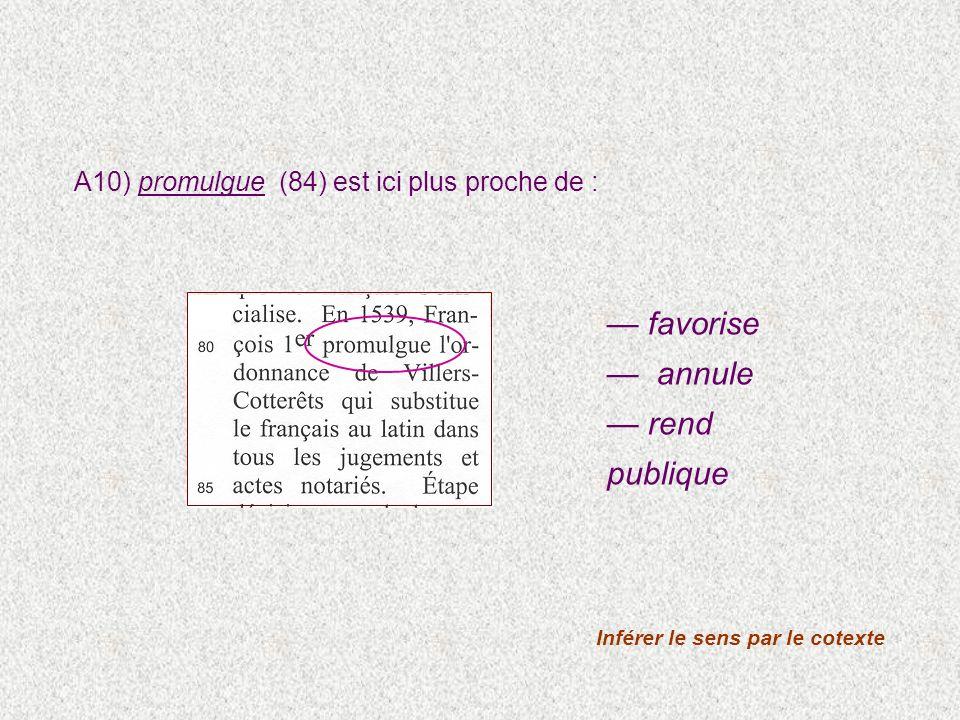 A10) promulgue (84) est ici plus proche de : Inférer le sens par le cotexte favorise annule rend publique