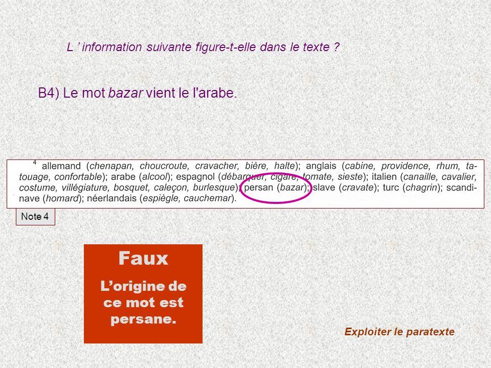 B4) Le mot bazar vient le l'arabe. Exploiter le paratexte Faux Lorigine de ce mot est persane. Note 4 L information suivante figure-t-elle dans le tex