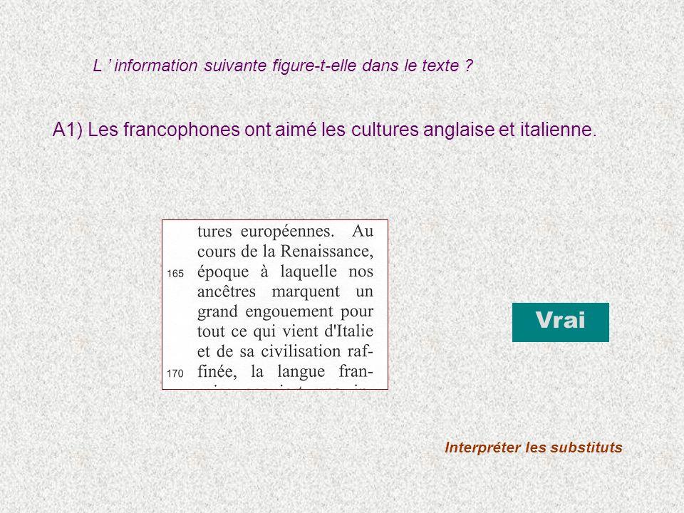 A1) Les francophones ont aimé les cultures anglaise et italienne. Vrai Interpréter les substituts L information suivante figure-t-elle dans le texte ?
