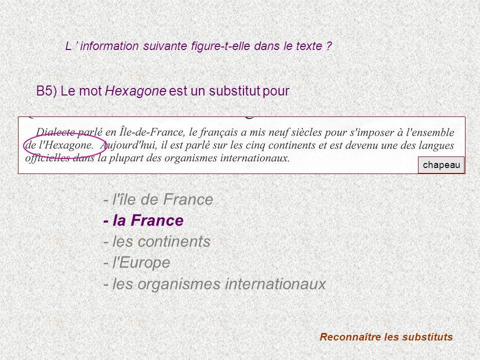 B5) Le mot Hexagone est un substitut pour Reconnaître les substituts - l'île de France - la France - les continents - l'Europe - les organismes intern