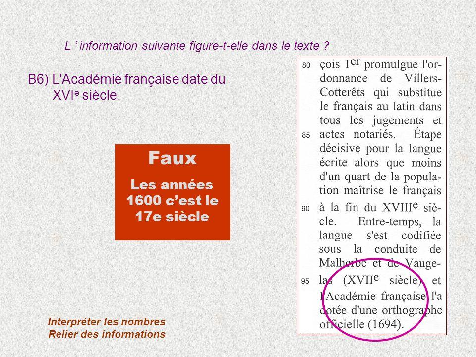 B6) L'Académie française date du XVI e siècle. Interpréter les nombres Relier des informations Faux Les années 1600 cest le 17e siècle L information s