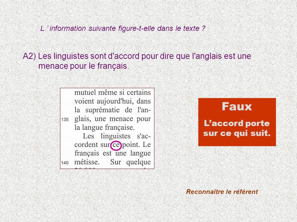 A2) Les linguistes sont d'accord pour dire que l'anglais est une menace pour le français. L information suivante figure-t-elle dans le texte ? Reconna