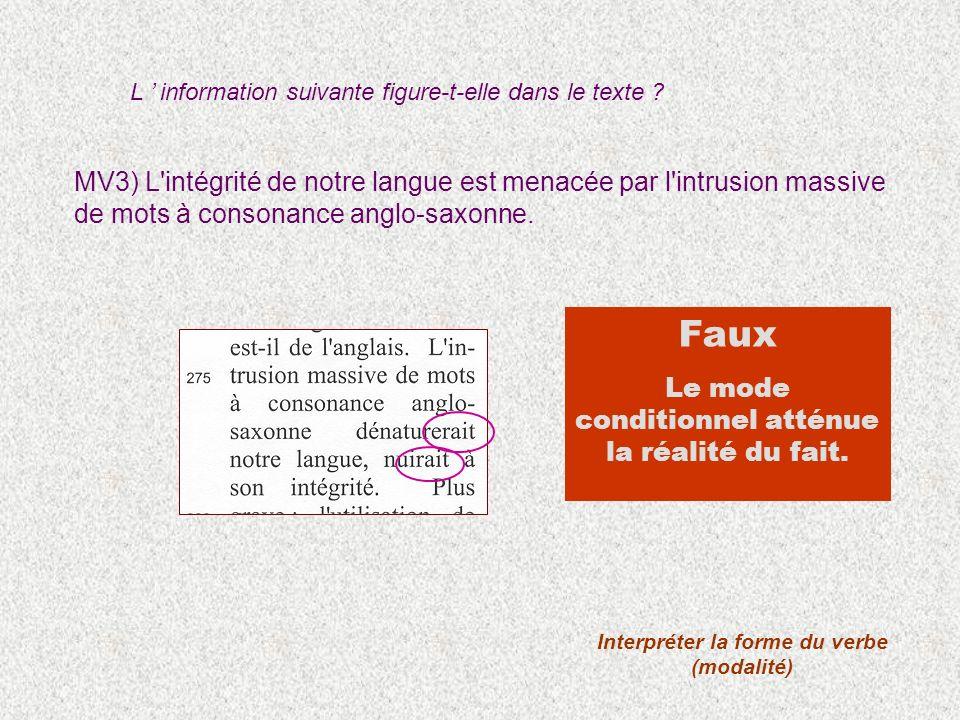 MV3) L'intégrité de notre langue est menacée par l'intrusion massive de mots à consonance anglo-saxonne. Interpréter la forme du verbe (modalité) Faux