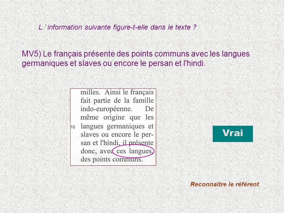MV5) Le français présente des points communs avec les langues germaniques et slaves ou encore le persan et l'hindi. Vrai Reconnaître le référent L inf