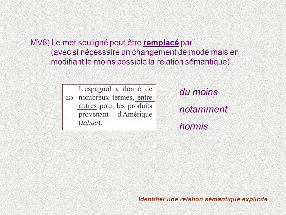 Identifier une relation sémantique explicite MV8) Le mot souligné peut être remplacé par : (avec si nécessaire un changement de mode mais en modifiant