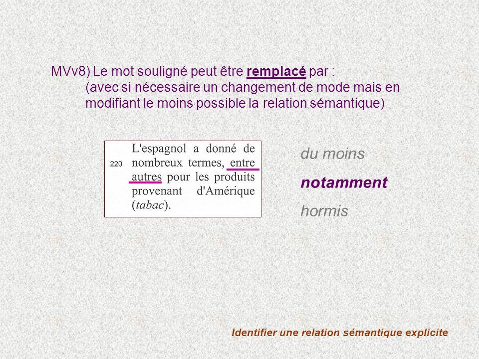 Identifier une relation sémantique explicite MVv8) Le mot souligné peut être remplacé par : (avec si nécessaire un changement de mode mais en modifian