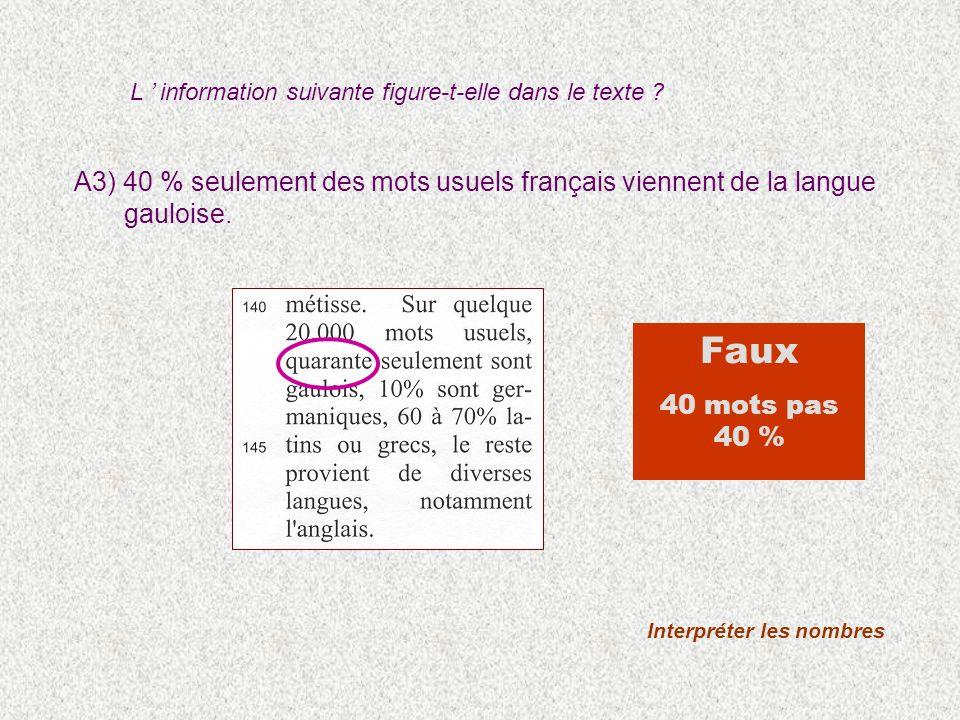 A3) 40 % seulement des mots usuels français viennent de la langue gauloise. Interpréter les nombres Faux 40 mots pas 40 % L information suivante figur