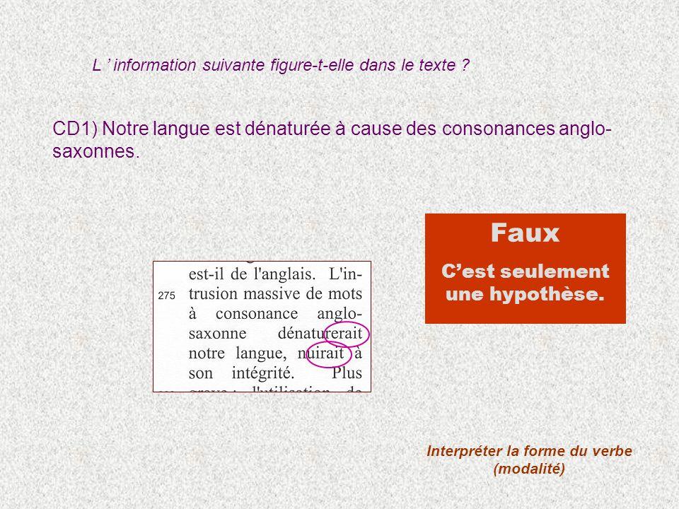 CD1) Notre langue est dénaturée à cause des consonances anglo- saxonnes. Interpréter la forme du verbe (modalité) Faux Cest seulement une hypothèse. L