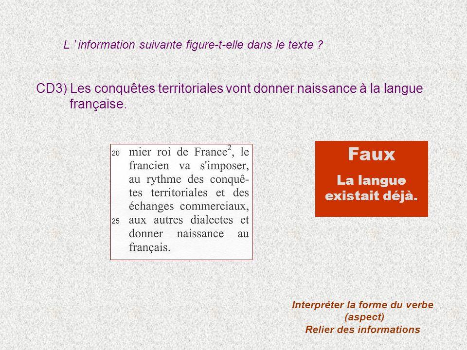 CD3) Les conquêtes territoriales vont donner naissance à la langue française. Interpréter la forme du verbe (aspect) Relier des informations Faux La l