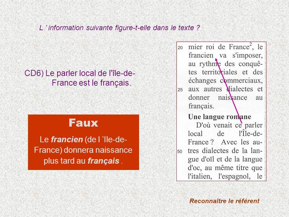 CD6) Le parler local de l'île-de- France est le français. Reconnaître le référent Faux Le francien (de l Ile-de- France) donnera naissance plus tard a