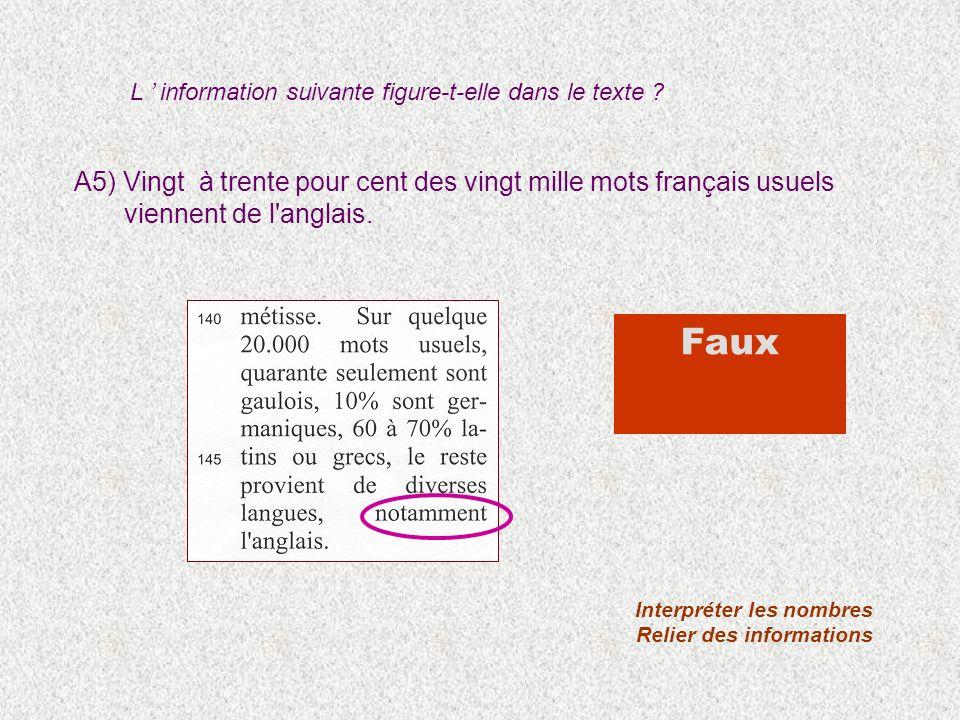 A5) Vingt à trente pour cent des vingt mille mots français usuels viennent de l'anglais. Interpréter les nombres Relier des informations Faux L inform