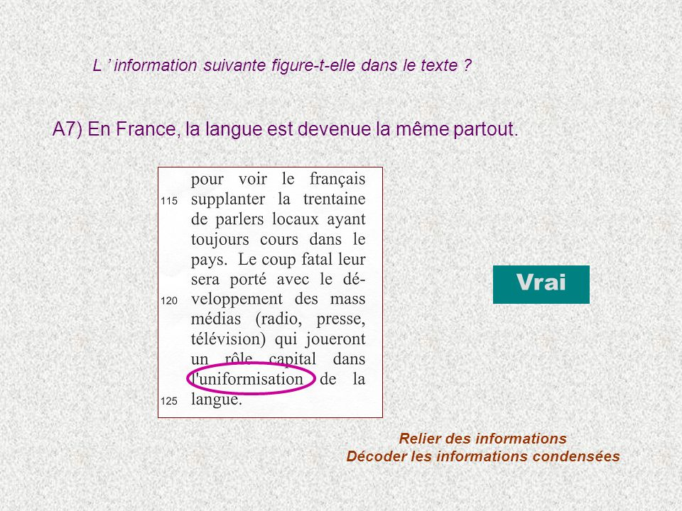 A7) En France, la langue est devenue la même partout. Vrai Relier des informations Décoder les informations condensées L information suivante figure-t
