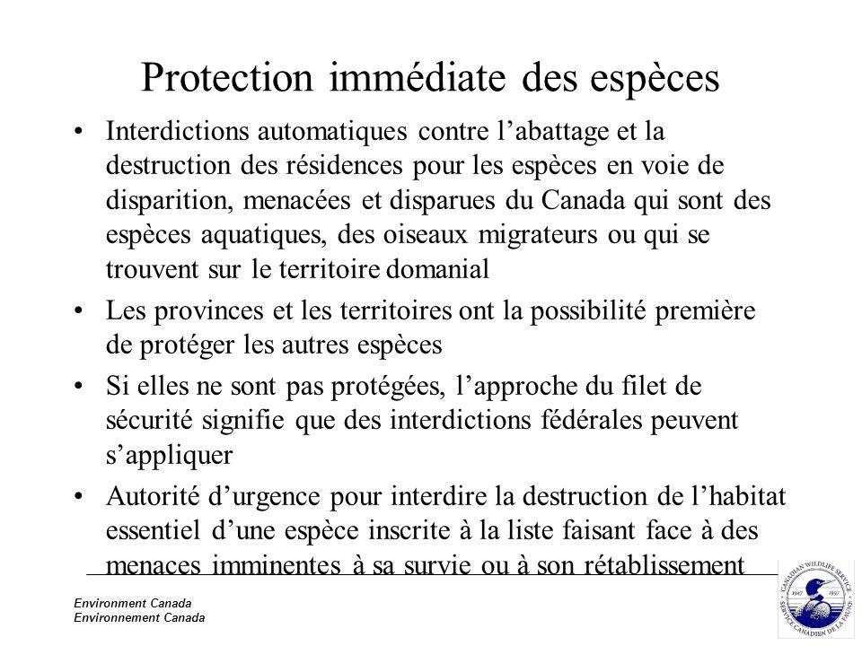 Environment Canada Environnement Canada Protection immédiate des espèces Interdictions automatiques contre labattage et la destruction des résidences