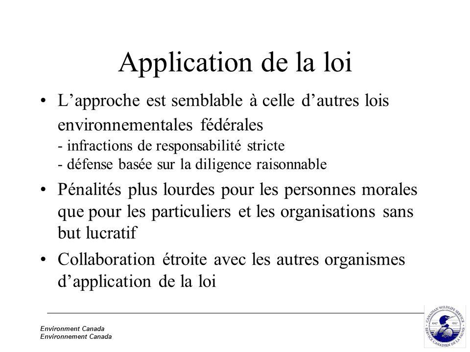 Environment Canada Environnement Canada Application de la loi Lapproche est semblable à celle dautres lois environnementales fédérales - infractions d