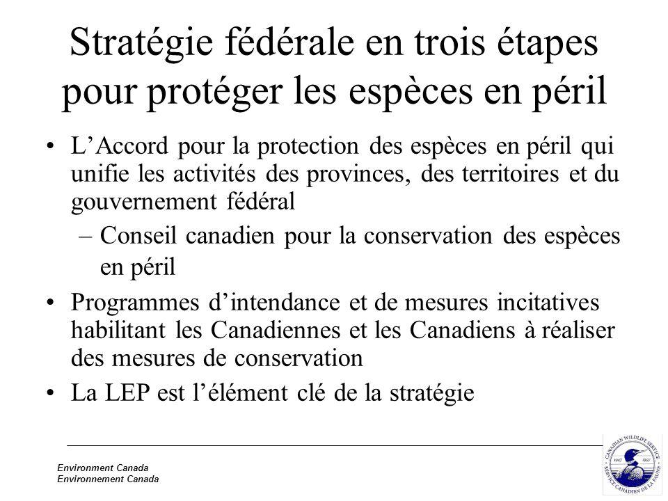 Environment Canada Environnement Canada Cheminement du projet de loi C-5 Plus de 150 séances de consultation tenues partout au pays Participation innovatrice des peuples autochtones 40 séances et 90 témoins devant le Comité permanent de l environnement et du développement durable de la Chambre Près de 50 séances à la Chambre des communes
