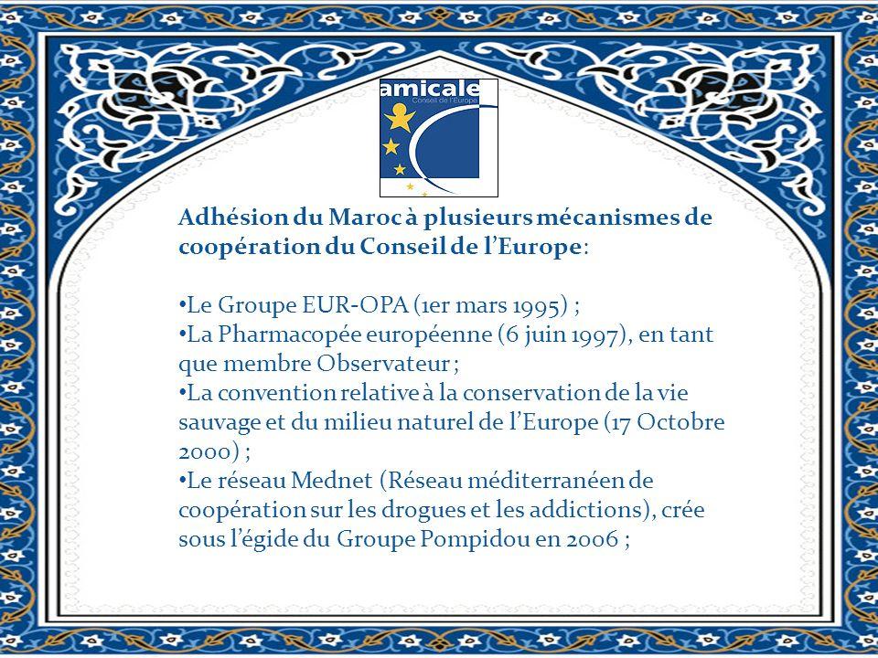 Adhésion du Maroc à plusieurs mécanismes de coopération du Conseil de lEurope: Le Groupe EUR-OPA (1er mars 1995) ; La Pharmacopée européenne (6 juin 1