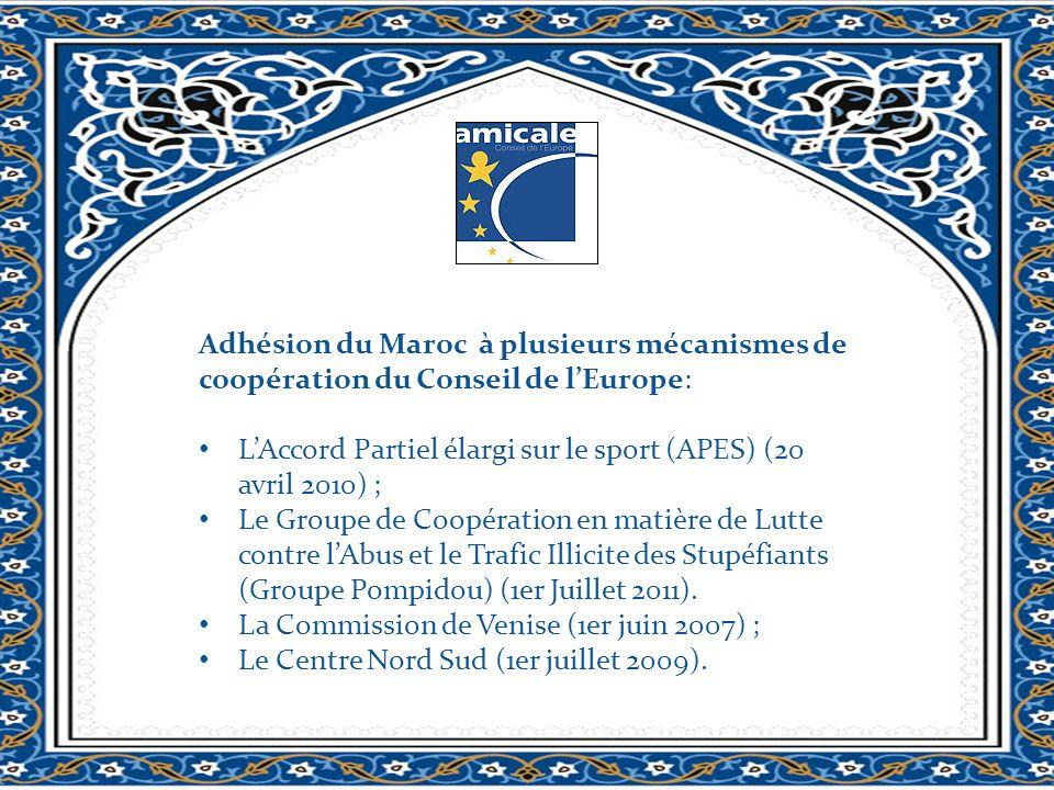 Adhésion du Maroc à plusieurs mécanismes de coopération du Conseil de lEurope: LAccord Partiel élargi sur le sport (APES) (20 avril 2010) ; Le Groupe de Coopération en matière de Lutte contre lAbus et le Trafic Illicite des Stupéfiants (Groupe Pompidou) (1er Juillet 2011).