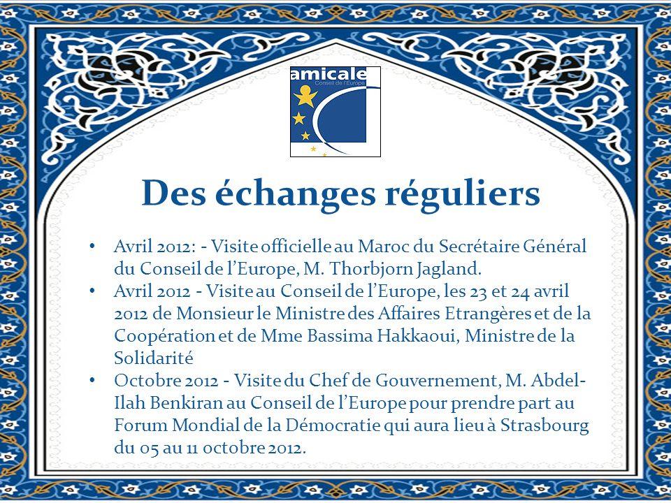 Des échanges réguliers Avril 2012: - Visite officielle au Maroc du Secrétaire Général du Conseil de lEurope, M. Thorbjorn Jagland. Avril 2012 - Visite