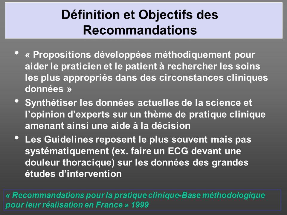 Définition et Objectifs des Recommandations « Propositions développées méthodiquement pour aider le praticien et le patient à rechercher les soins les