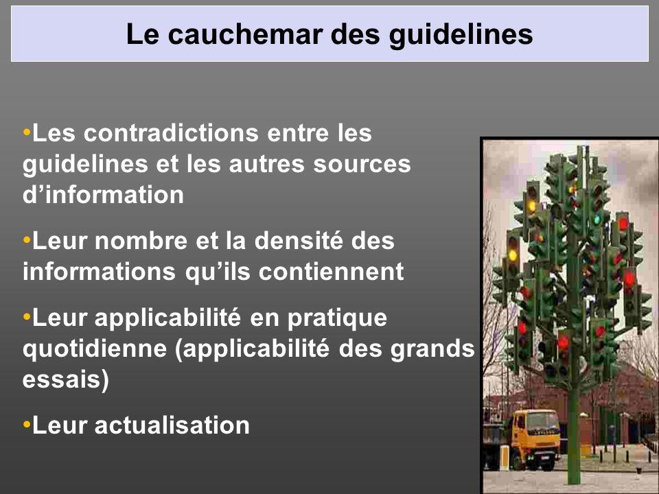 Le cauchemar des guidelines Les contradictions entre les guidelines et les autres sources dinformation Leur nombre et la densité des informations quil