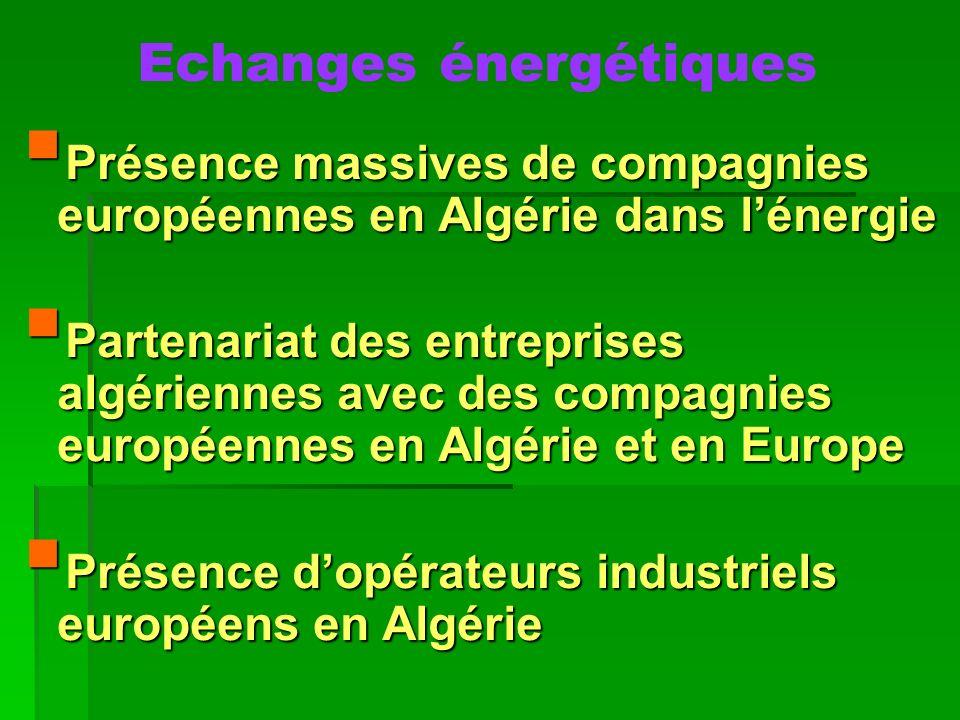 Echanges énergétiques Présence massives de compagnies européennes en Algérie dans lénergie Présence massives de compagnies européennes en Algérie dans