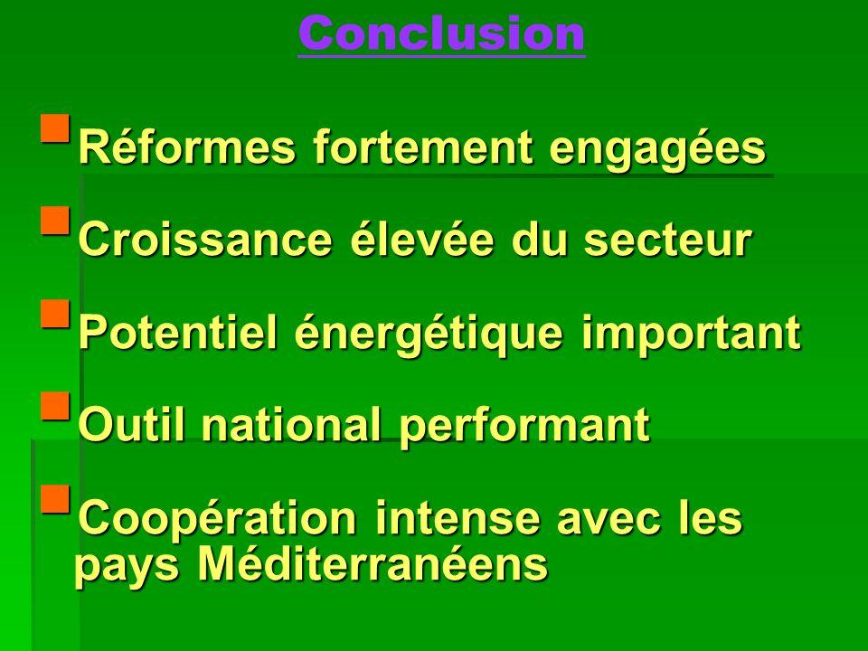 Conclusion Réformes fortement engagées Réformes fortement engagées Croissance élevée du secteur Croissance élevée du secteur Potentiel énergétique imp