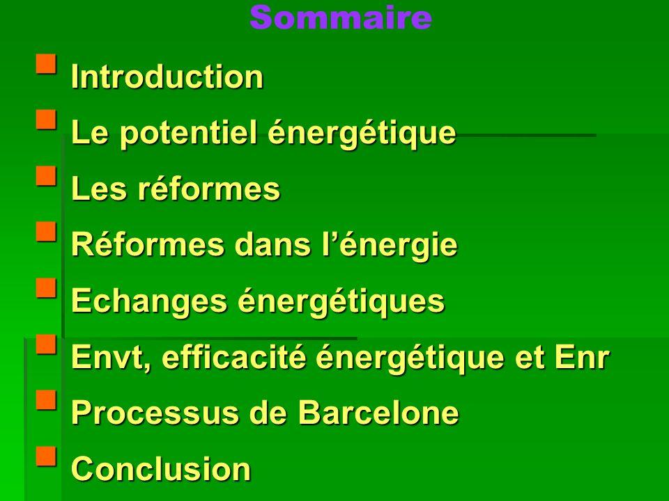 Sommaire Introduction Introduction Le potentiel énergétique Le potentiel énergétique Les réformes Les réformes Réformes dans lénergie Réformes dans lé